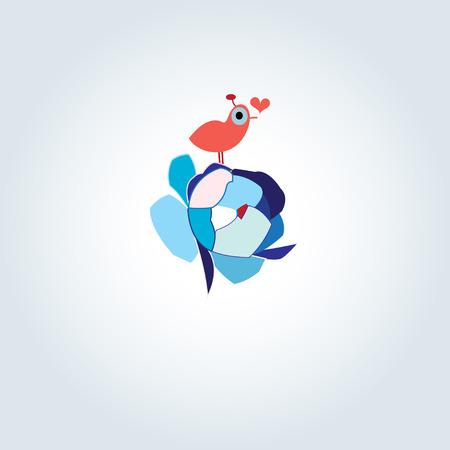 it is interesting: Beautiful birdie in love on a flower Illustration