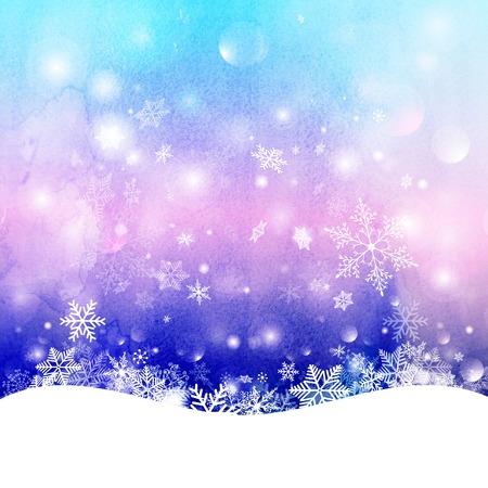 クリスマス紫の背景に雪の結晶、きらめく雪