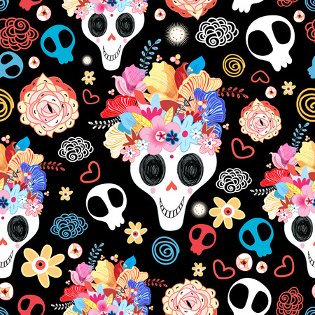 The pattern of skulls beautiful vector illustration Vettoriali