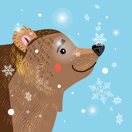 national parks: Vector illustration of a brown bear among the snowflakes Illustration