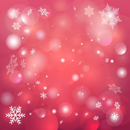 twinkling: Christmas red background with snowflakes and twinkling snow Illustration