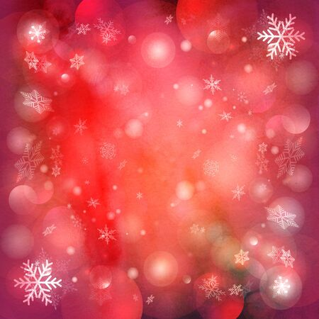 fall images: Watercolor Christmas red background with snowflakes and twinkling snow