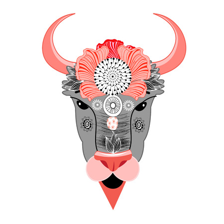 bison: Vector illustration of a bison with ornament Illustration