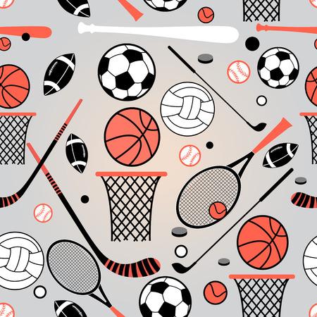 symbol sport: Farbgrafikmuster Sportartikel auf einem blauen Hintergrund