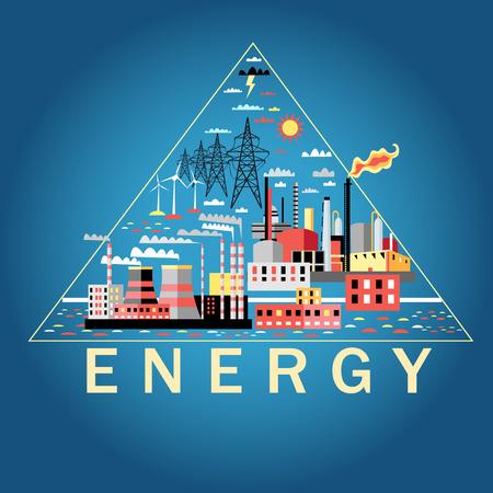 Przemysł tła przemysłowych z elektrowni i zakładów petrochemicznych Ilustracje wektorowe