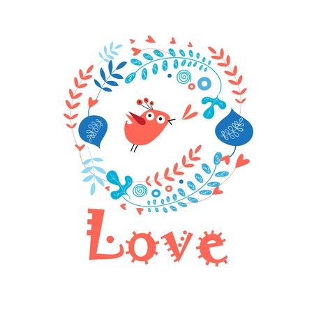 nice day: Beautiful birdie in love on a flower Illustration