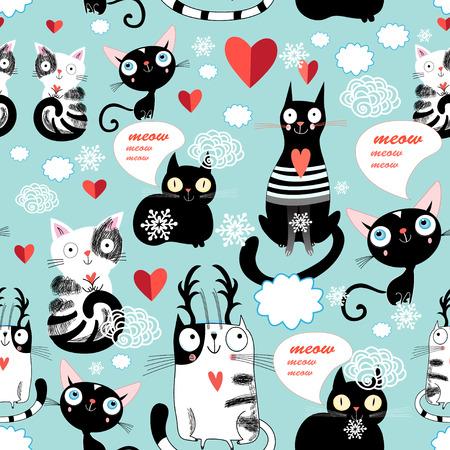 猫の恋人の柄の美しいベクトル イラスト