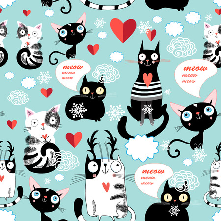 enamorados caricatura: Hermosa ilustraci�n vectorial de un patr�n amante de los gatos