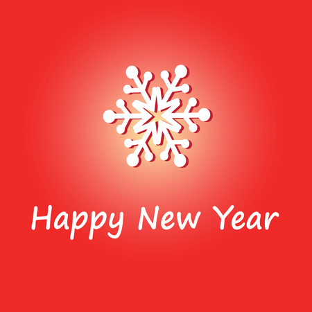 snow drifts: bright New Year greeting card with snowflakes on a red background