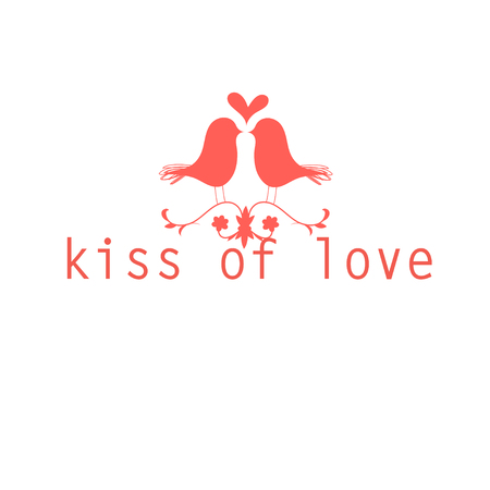 kissing: red love birds kissing beautiful vector illustration