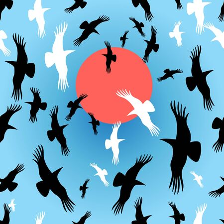 love dome: Flocks of crows circling the sun vector illustration