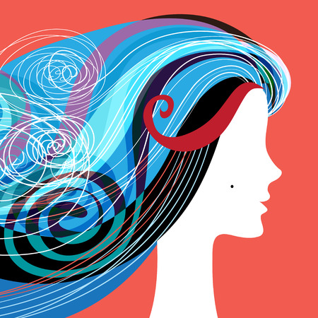 sophistication: Woman silhouette with curly hair on banners for hairdressing salon Illustration