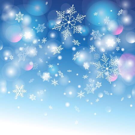 color image: winter graphic background with different snow snowflakes .