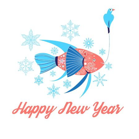 joy of life: Fish and bird floating in the snowflakes illustration Happy New Year Illustration