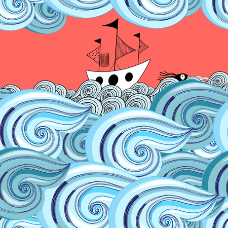 reiteration: Bright seamless pattern with beautiful graphics waves and ship Illustration