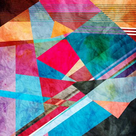 reproduce: bright multicolored background graphic of geometric shapes Stock Photo