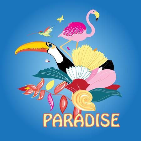 ave del paraiso: Ilustraci�n vectorial hermoso de ave del para�so y plantas