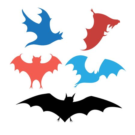 moody: Bright set of silhouettes of bats on a white background