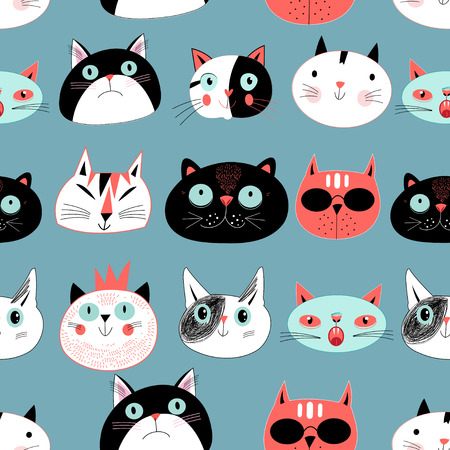 Graphic seamless pattern portraits of cats on a blue background Illustration