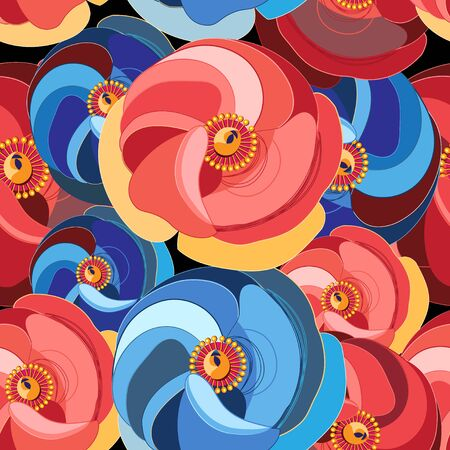 florescence: Beautiful vector illustration pattern  flower with multicolored petals