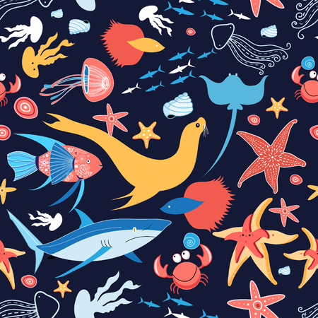 Beautiful vector pattern on the marine theme with a stingray and fish