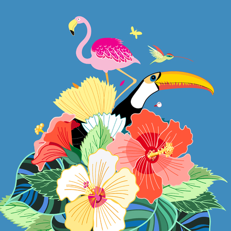island paradise: Beautiful vector illustration of bird of paradise and plants Illustration