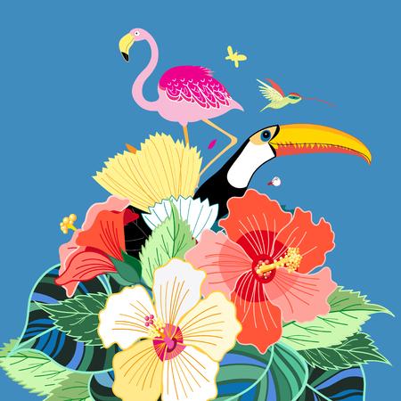 birds of paradise: Beautiful vector illustration of bird of paradise and plants Illustration