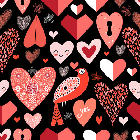 seamless pattern of bright red hearts on a black background