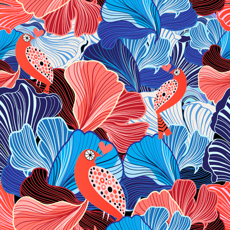 reiteration: unusual bright seamless abstract pattern and bird lovers Illustration