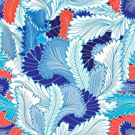reiteration: Winter abstract seamless pattern feathers and plants