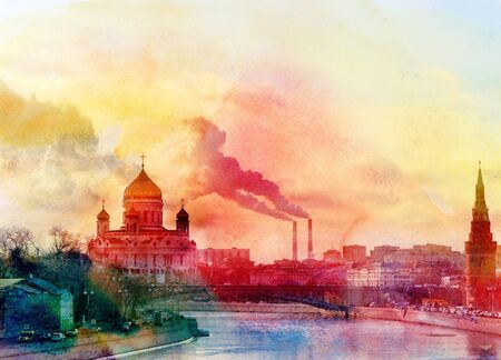 orthodoxy: watercolor landscape of the Cathedral of Christ the Savior in Moscow on the river