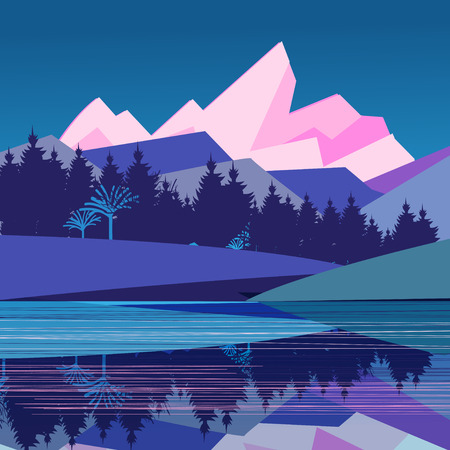 pinnacle: magnificent landscape with mountains and forest by the river on a blue background