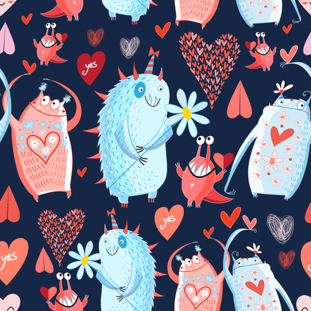 cute animals: funny bright seamless vector pattern with lovers monsters