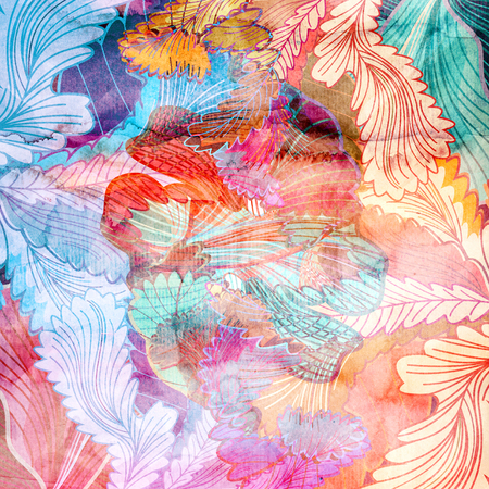 reiteration: Watercolor retro colorful background with abstract elements