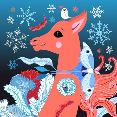 magnificent: magnificent portrait of a deer on a blue background with snowflakes and butterfly
