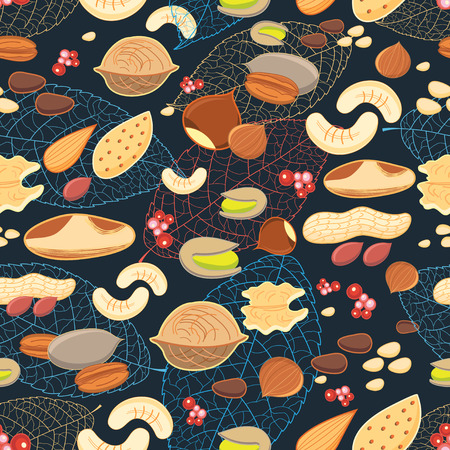 do cooking: Seamless graphic pattern of different nuts on a dark background with leaves