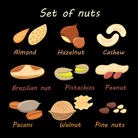 sample environment: large set of various nuts with the names on a black background