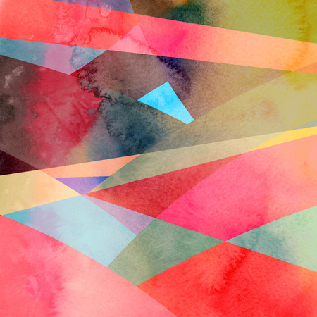 reiteration: watercolor retro colorful background with geometry abstract elements