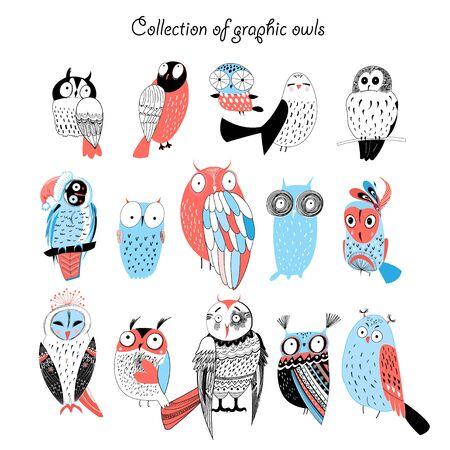 vrij grappige verzameling van grafische uilen op een witte achtergrond