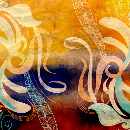 reiteration: watercolor retro colorful background with abstract elements Stock Photo
