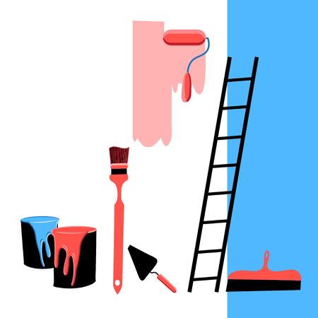 premises: Beautiful vector illustration building tools for the repair of premises