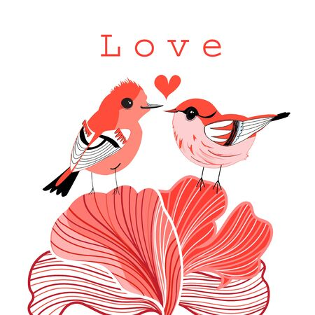 spot the difference: bright graphic love birds on a white background Illustration