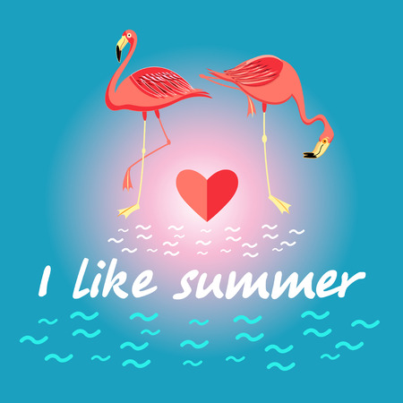spend the summer: Background with flamingos and the slogan about the summer for design. Vector illustration