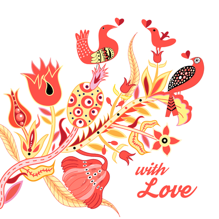 Festive beautiful poster for Valentines Day with a variety of plants and birds