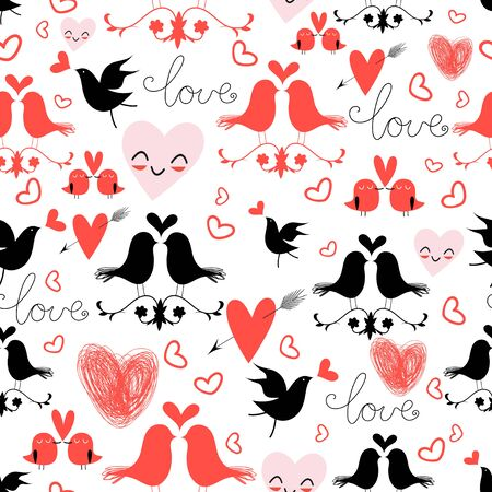 garden eden: bright graphic pattern of love birds and hearts on a white background