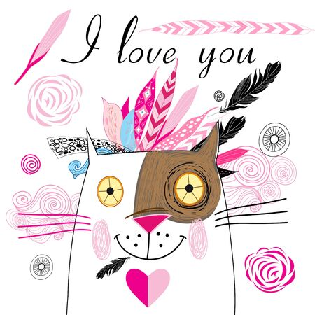 eden: bright graphics greeting card with lovers cats and feathers on a white background Illustration