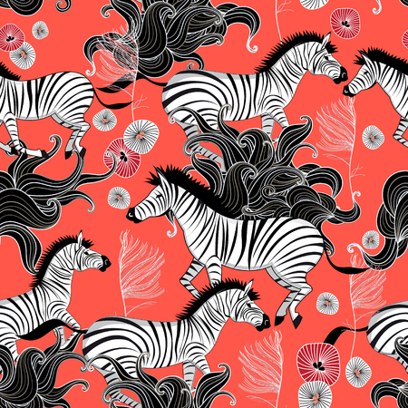 Beautiful vector graphic pattern of running zebras