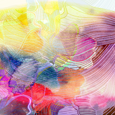reiteration: watercolor retro colorful background with waves abstract elements