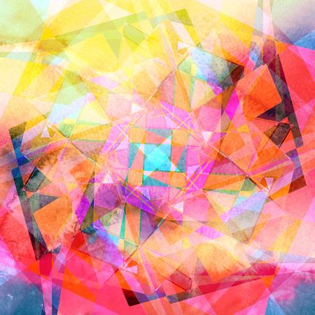 Résumé de fond d'aquarelle avec des éléments géométriques colorés