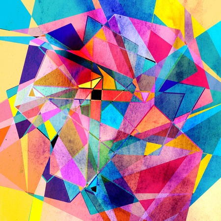 Abstract watercolor background with colorful geometric elements